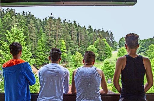 Hinterm Horizont geht's weiter: vier Jungs auf dem Balkon mit Talblick ins Grüne Foto: Vanessa Gaßmann