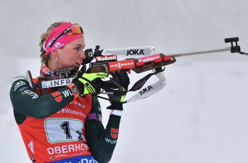 Denise Herrman ist erst seit diesem Jahr dauerhaft im Biathlon-Weltcup. Sie ist die schnellste Läuferin im ganzen Feld.  Foto: dpa